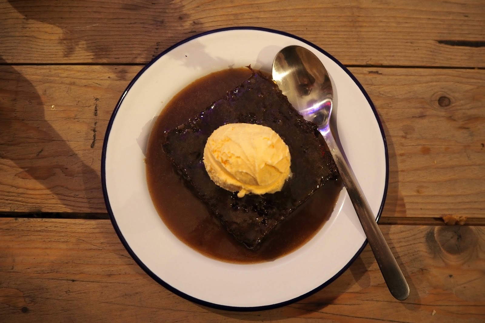 plate of sticky toffee pudding and sauce