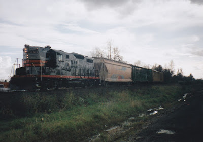 Willamette & Pacific GP9R #1801 in St. Helens, Oregon, in Fall 1997