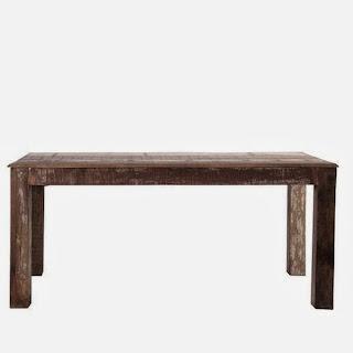 Mesa Reciclada Salon Pata Cuadrada Jodhpur, mesa comedor rustica, mesa decapada rustica