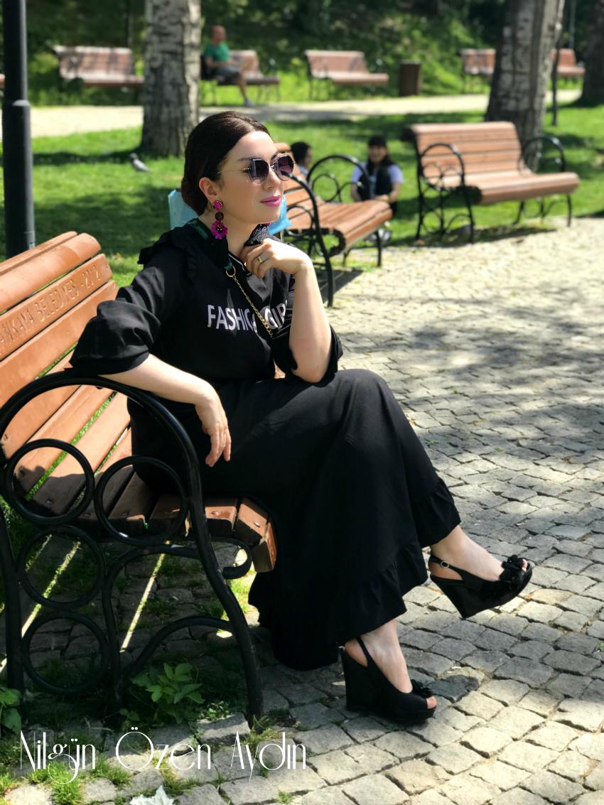 siyah spor elbise-black dress