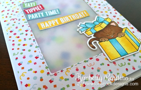 Birthday Shaker Card by Kimberly Rendino | Newton's Christmas Cuddles stamp set by Newton's Nook Designs #newtonsnook