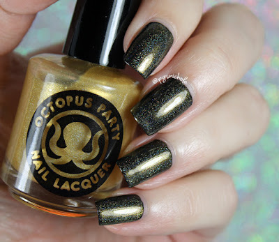 Octopus Party Nail Lacquer The Midas Crutch over China Glaze Liquid Leather