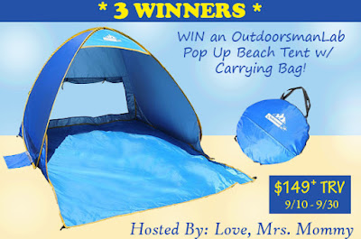 Enter the OutdoorsmanLab Pop Up Beach Tent Giveaway. Ends 9/30