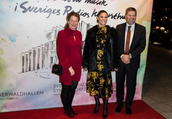 Crown Princess Victoria wore Dagmar Dora gold flower dress, and Unreal Fur Wanderlust jacket, and gold leaf earrings