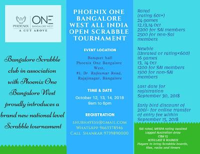 Phoenix One Bangalore West All India Open Scrabble Tournament