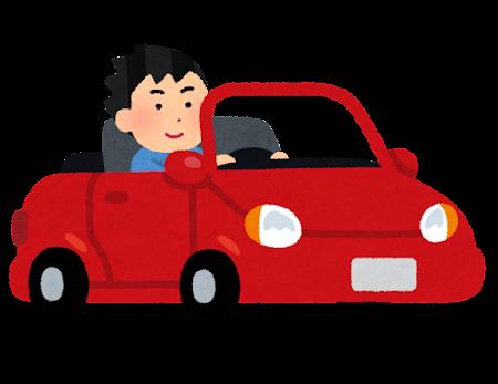 オープンカーを運転する人のイラスト(男性)