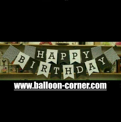 Bunting Flag Segilima HAPPY BIRTHDAY Warna Hitam