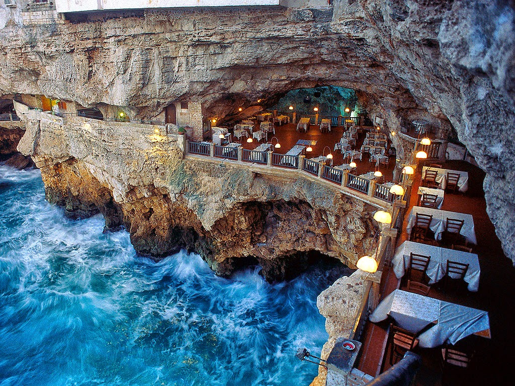 Image result for italian restaurant built into an ocean side grotto