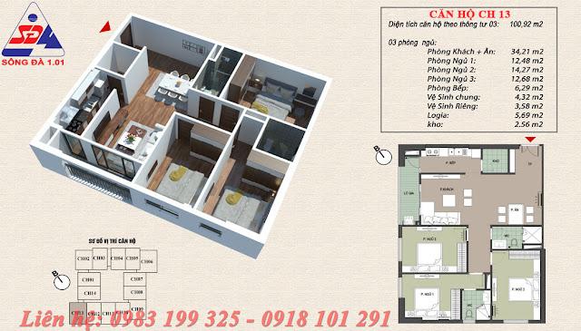 Thiết kế chung cư EcoGreen số 1 Giáp Nhị căn 13