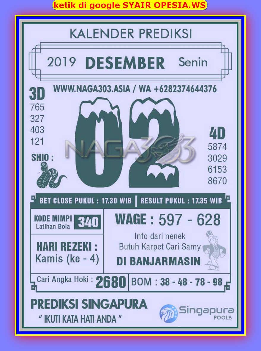 Kode syair Singapore Senin 2 Desember 2019 73
