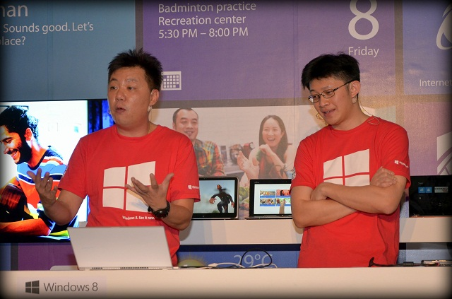 Danny Ong, Chief Marketing & Operations Officer (L), and Tenh Shiao Peng, Technologist Strategist - Enterprise & Partner Group (R) during the Windows 8 demonstration