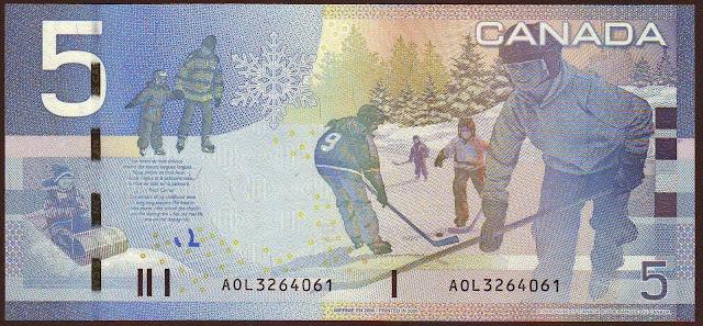 Canada money currency 5 Canadian Dollar Bill 2006 Boys playing ice hockey