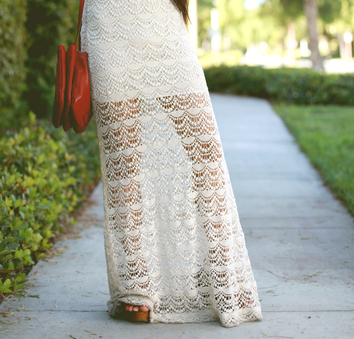 Stephanie Liu of Honey & Silk wearing Chaser lace maxi dress and Chloe and Isabel jewelry