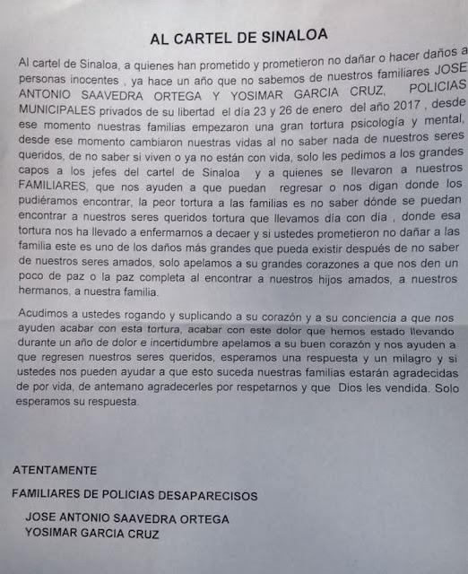 Familiares de policías desaparecidos, piden ayuda al Cártel de Sinaloa para  poder encontrarlos