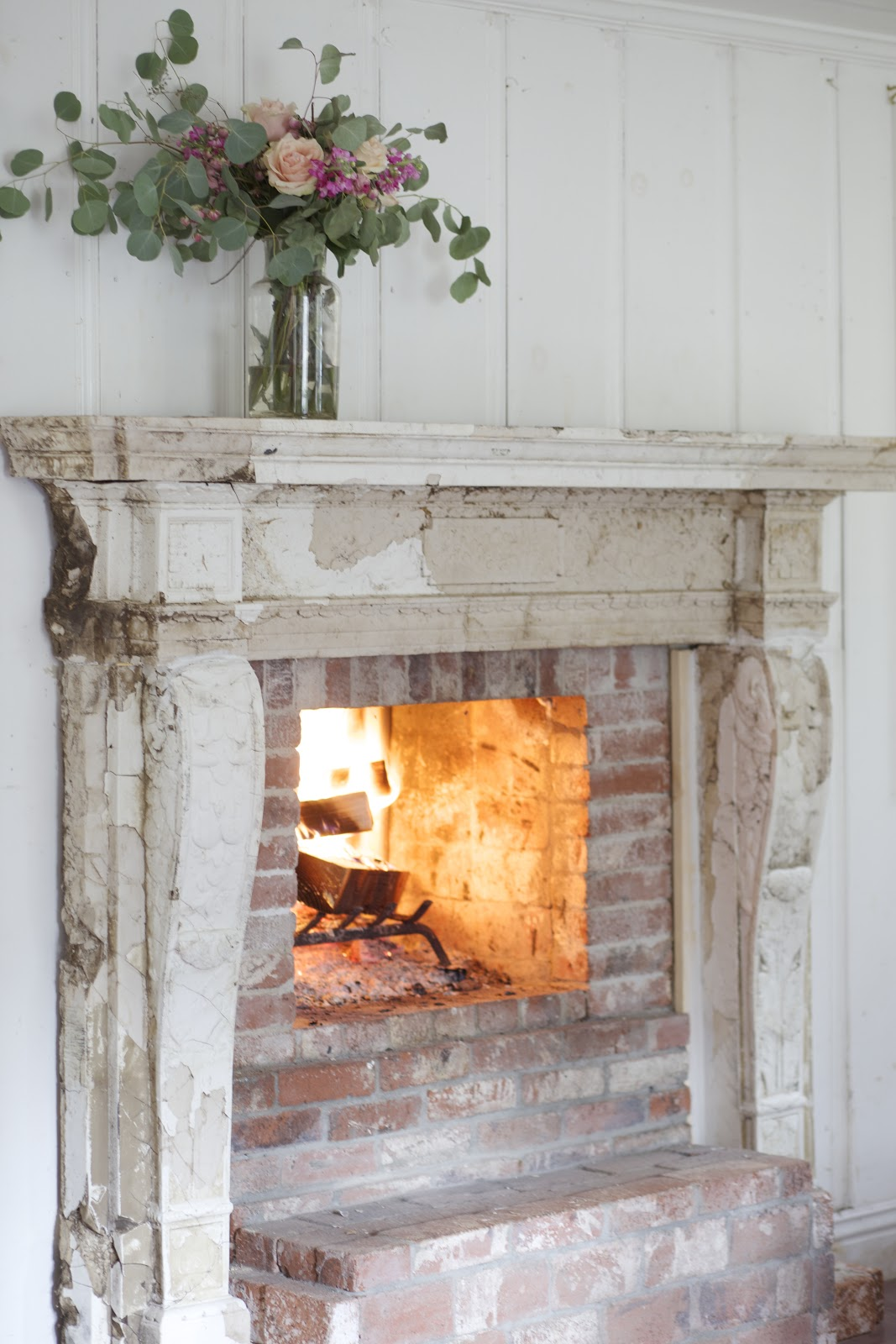 Antique Fireplace Before & After - FRENCH COUNTRY COTTAGE