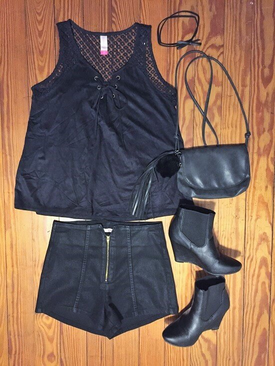 black suede lace up tank top outfit of the day