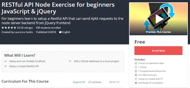[100% Free] RESTful API Node Exercise for beginners JavaScript & jQuery