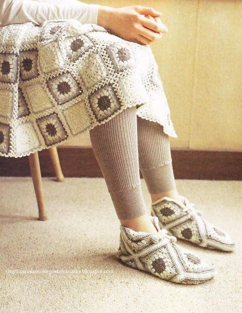 Patrón #806: Pantuflas a Crochet