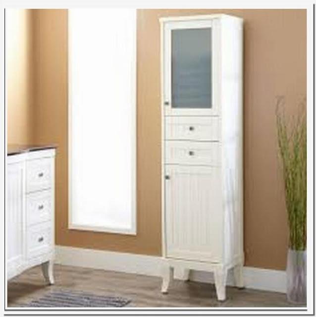White bathroom linen storage cabinet