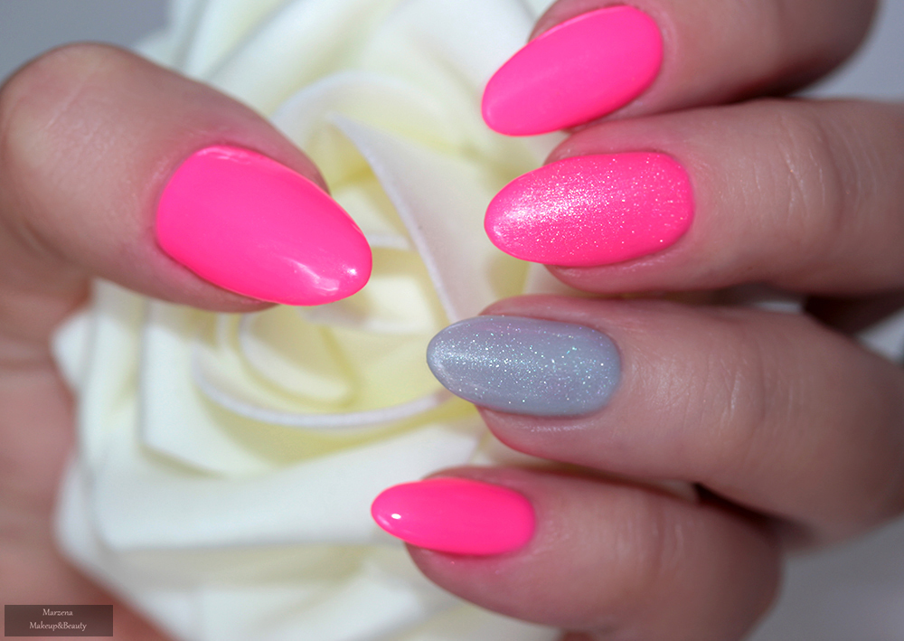 56241c637968b5 Do wykonania tego manicure użyłam 3 kolorów, jednak główną rolę z pewnością  odgrywa neonowy róż. Aby nie było zbyt monotonnie, ale też nie przesadzając  z ...