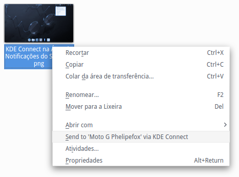 Dolphin - Menu de Contexto (Enviar via KDE Connect)