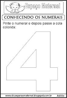 Numeral quatro para colorir