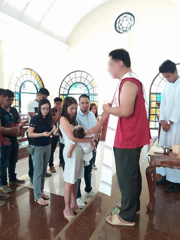 Priest goes viral for wearing 'pambahay' during christening