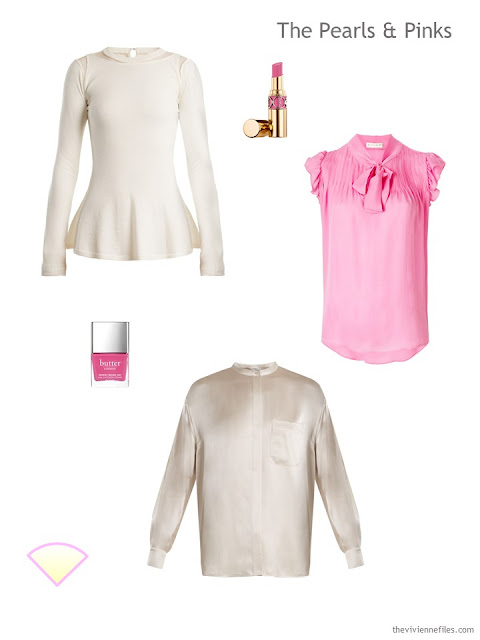 ivory and pink tops for evening wear