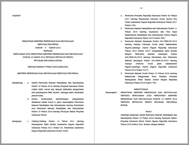 Permendikbud Nomor 9 Tahun 2018 Tentang Perubahan Permendikbud Nomor 19 tahun 2016 Tentang Juknis PIP (Program Indonesia Pintar)