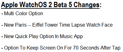 WatchOS 2 Beta 5 Changes