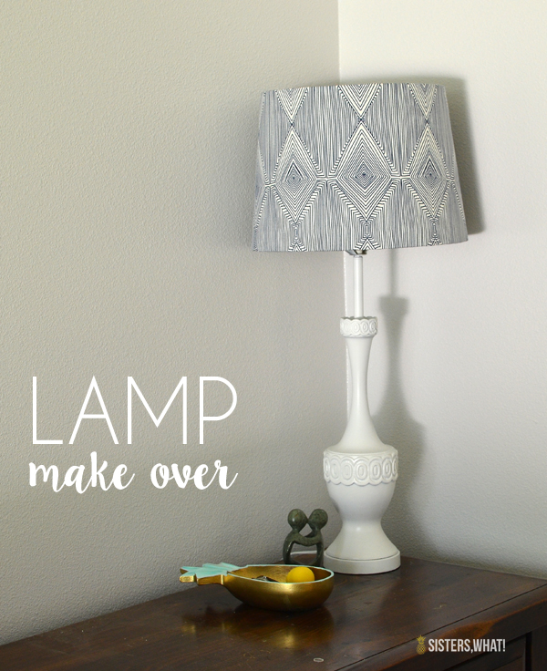 this thrifted lamp was made over with some spray paint and fabric!