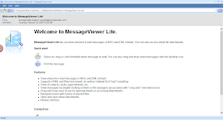 Read .msg files with MessageViewer Lite. Image shows the main screen.