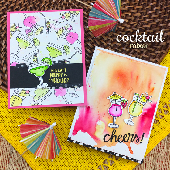 Cheers! Cocktail Cards by Jennifer Jackson | Cocktail Mixer Stamp Set by Newton's Nook Designs #newtonsnook