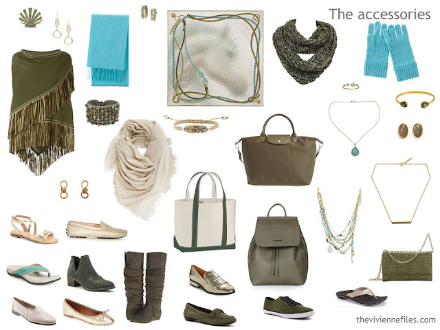 accessory capsule wardrobe in olive, beige and gold