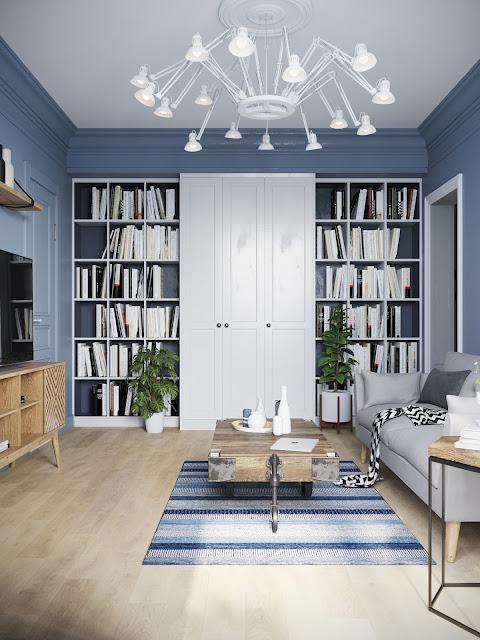 biblioteca alba intr-un living cu pereti albastrii