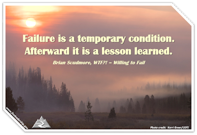 "forest socked in with smoke and the sun obscured (Failure is a temporary condition. Afterward it is a lesson learned.  Brian Scudmore, ""WTF?! – Willing to Fail"")"