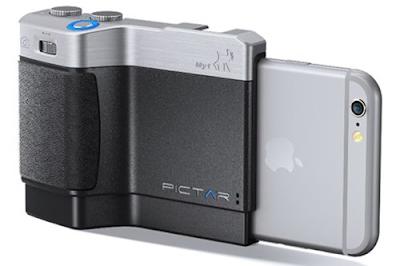 Pictar có thể gắn vào iPhone và tạo thành một chiếc máy ảnh DSLR chuyên dụng