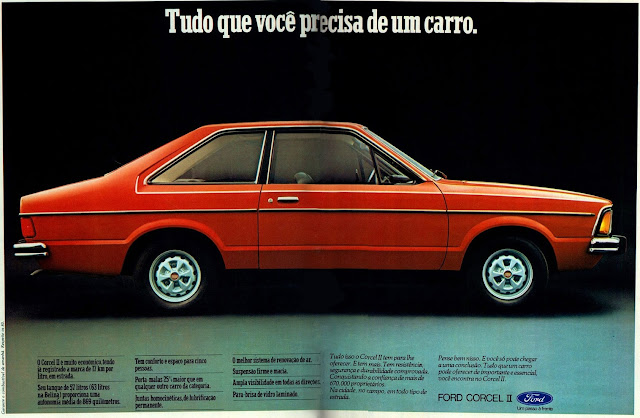 Propaganda antiga do Ford Corcel II no final dos anos 70