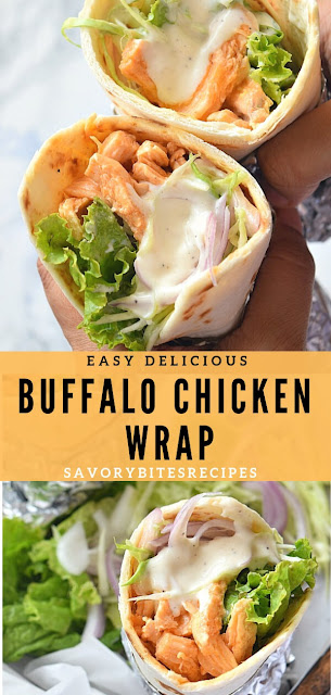 Buffalo Chicken Wrap served with lots of slaw and creamy sauce