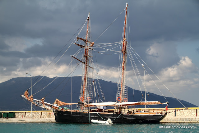 Black Sail Boat in Sami Port