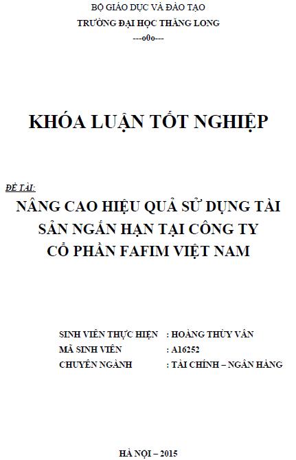 Nâng cao hiệu quả sử dụng tài sản ngắn hạn tại Công ty Cổ phần Fafim Việt Nam