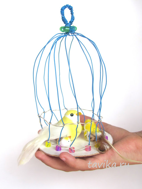 детская поделка - клетка для птички своими руками