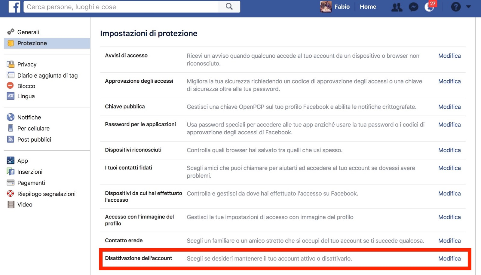 Come cancellare account Facebook - disattivazione account