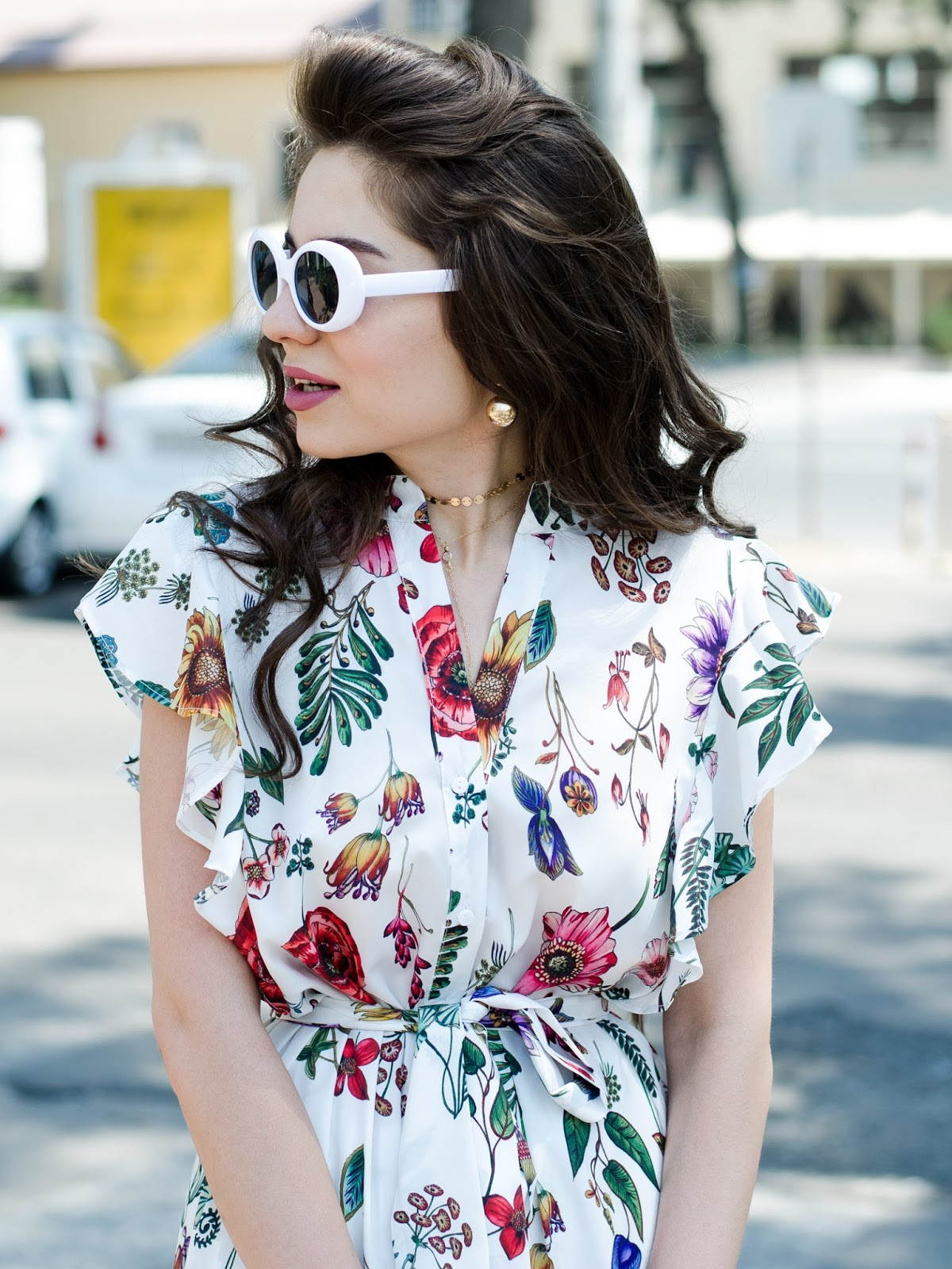 fashion blogger diyorasnotes diyora beta midi dress ruffles printed dress mules lookoftheday street style