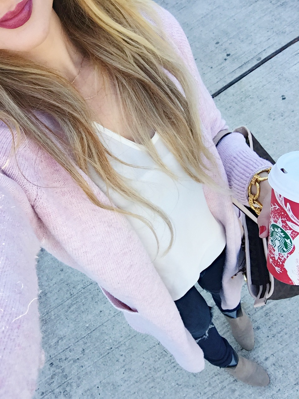 blush pink winter outfit