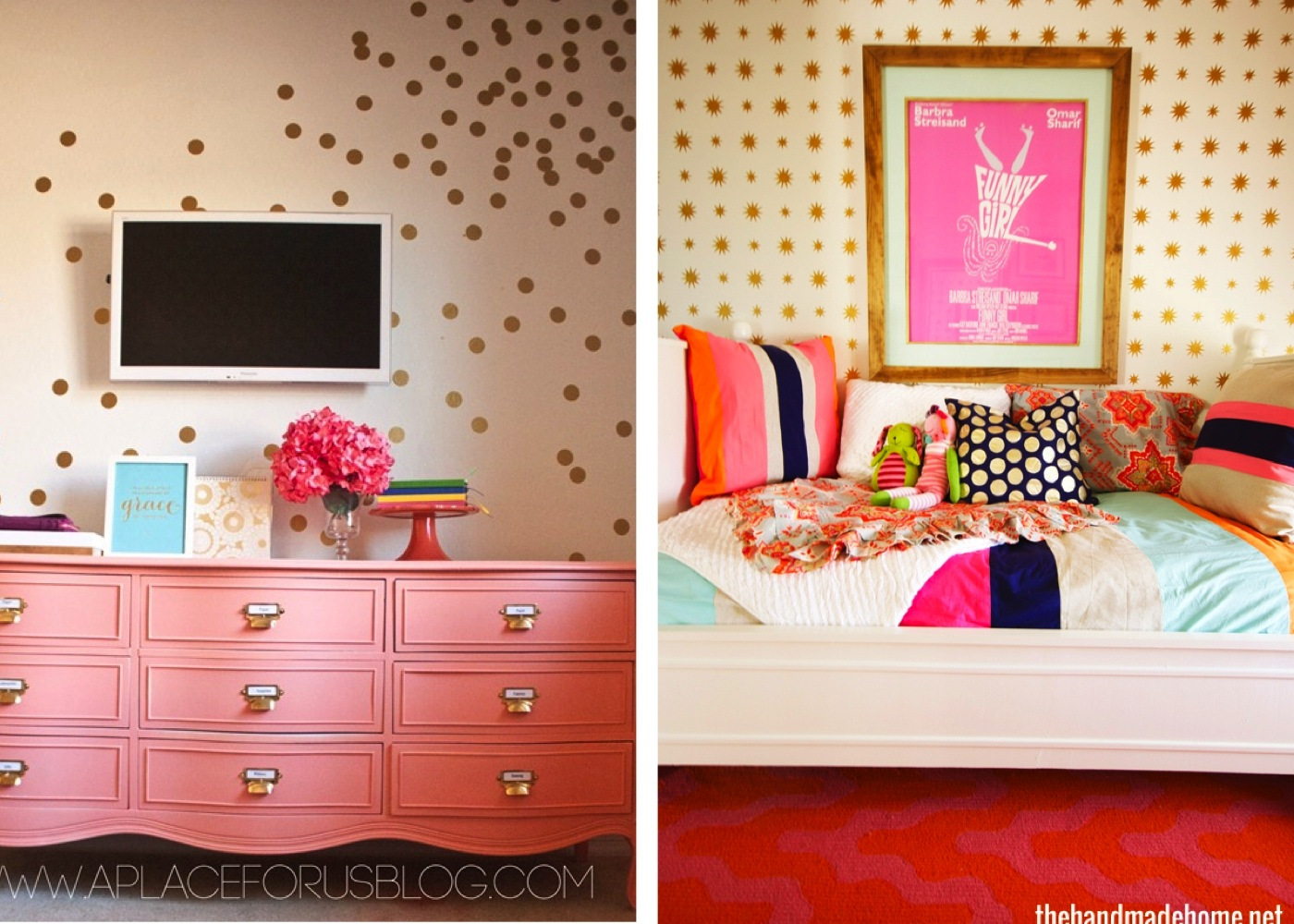 DIY Gold Polka-Dot Wall