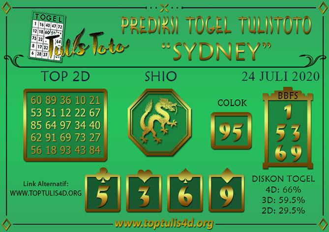 Prediksi Togel SYDNEY TULISTOTO 24 JULI 2020