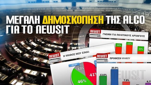 Δημοσκόπηση ALCO για το NewsIt: 7 μονάδες μπροστά η ΝΔ – Σχεδόν αδύνατη η αυτοδυναμία - Μπαίνουν στην Βουλή: Κουβέλης, Καμμένος, Καρατζαφέρης