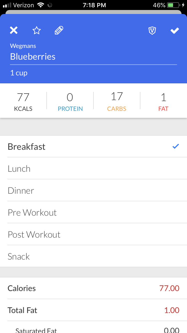 screenshot of my macros plus app
