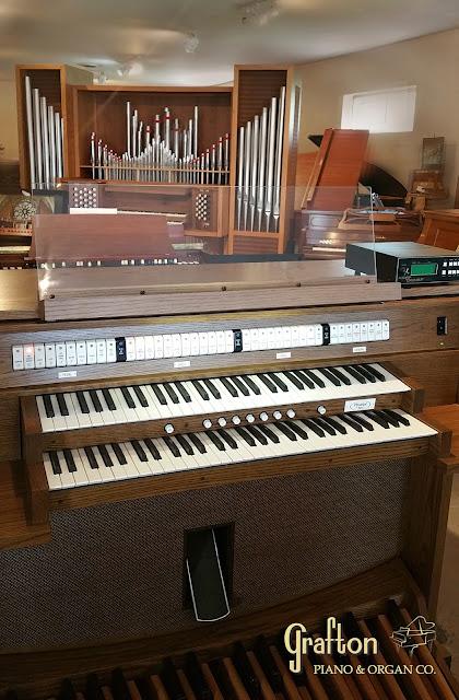 Picture of used Allen C6 church organ on Grafton Piano showroom floor